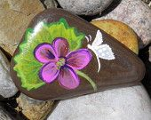 Hand Painted Idaho River Rock-Fuchsia Orchid, Butterfly