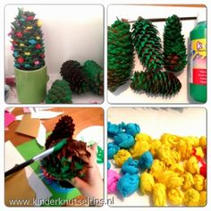 Met een dennenappel knutsel je zo een mooi kerstboompje! #knutseltip #kerst www.kinderknutseltips.nl