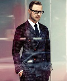 Micro Polka Dot Suit Blazer knitted tie & glasses #menswear