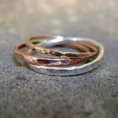 Intertwined Rolling Rings - Sterling Silver Copper and 14K Yellow Gold Filled - Hand Made Artisan Jewellery - Designed by A Second Time for $70.00 at etsy.com
