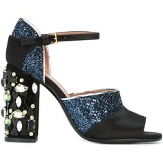 Marni embellished sandal ($1,100) ❤ liked on Polyvore featuring shoes, sandals, black, leather ankle strap sandals, black sparkly shoes, thick heel sandals, leather sandals and ankle tie sandals