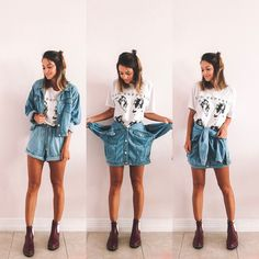 Get a jacket that has a trim on your body and also a simpler wash to match all your clothes! Related posts: Super diy clothes skirt no sew ideas Diy Fashion, Ideias Fashion, Fashion Outfits, Thrift Store Outfits, Thrift Store Fashion, Thrift Shop Outfit, Diy Clothes Refashion, Vetement Fashion, Mein Style