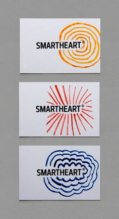 Logo and bright hand painted watercolour business cards for design agency Smartheart