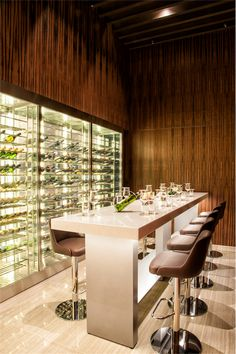 Hotel Room Design, Home Bar Designs, Wine Display, Cool Bars, Bar Lighting, Wine Cellar, Restaurant Bar, Coffee Shop, Luxury Bar