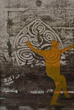 Handpressed  monoprint linocutstencilabstract art by eytanfantasy