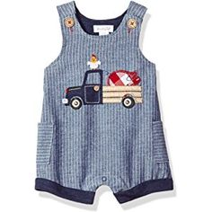 Mud Pie Baby Boys Farmhouse Chambray Sleeveless Shortall One Piece Playwear