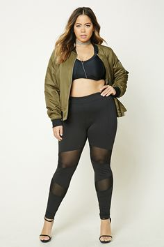 Forever 21+ - A pair of knit leggings featuring mesh knit paneling down the front legs, style lines, and an elasticized waistband.