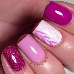Pink and White Nail Design for Short Nails:
