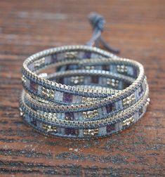 Blue Japan seed beaded mix wrap bracelet with chain Boho