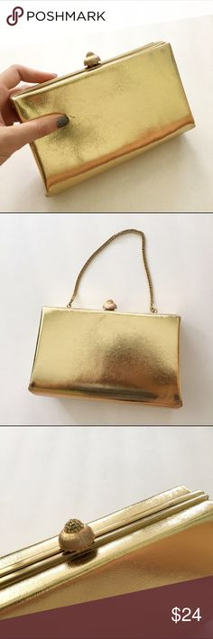 Vintage Gold Clutch HL USA vintage clutch. Has a few scratches but overall in very good condition. Sparkly detail on the top of the closer. Has a strap to make it a purse. Vintage from the 60s. Great evening bag for weddings, prom, homecoming, or other formal events.   ⭐️10% off 2+ bundle ⭐️Smoke Free Home Vintage Bags Clutches & Wristlets