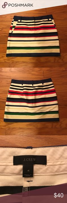 J. Crew Striped Skirt J. Crew Striped Skirt. Size 4. 93% cotton. Zipper and clasp in front. 7% nylon. Never worn. Approx. 15 inches in length. J. Crew Skirts