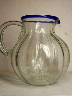 Vintage Blenko Blown Glass Pitcher Cobalt Blue Rim Applied Handle Rough Pontil  $24.99
