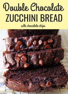 A moist, rich, fudgy chocolate zucchini bread recipe with chocolate chips. An easy, one-bowl double chocolate decadent zucchini loaf. Chocolate Avocado Brownies, Honey Chocolate, Chocolate Zucchini Bread, Zucchini Bread Recipes, Chocolate Chip Recipes, Chocolate Chips, Zucchini Cookies, Zucchini Cake, Chocolate Lovers