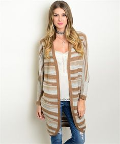 Black & Oatmeal Striped Cardigan | Berry Clothing Company ...