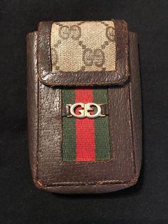 dcb651dcd49 Vintage Italy Gucci GG Monogram Vinyl Brown Leather Cigarette Case