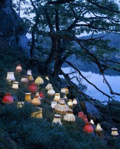 """lasrina: """" lesleegab: """" cutesy: """" by Norwegian conceptual artist Rune Guneriussen """" reminds me of the Mad Hatter's tea party """" All of the lamps that were replaced by IKEA lamps are marching home for. Land Art, Art Environnemental, Runes, Installation Art, Art Installations, Art Inspo, Street Art, Objects, Scene"""