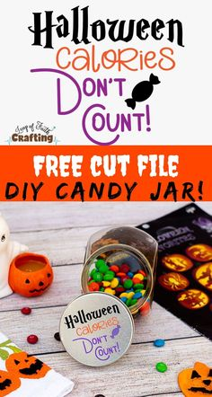 FREE Halloween SVG cut file to make a cute candy jar with vinyl and a Cricut.  #halloween #svg