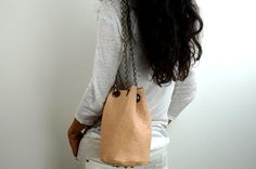 SMALL BUCKET BAG with Chain Strap Beige Soft by NeroliHandbags