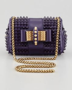 #Christian Louboutin Sweet Charity Spiked Crossbody Bag, Purple