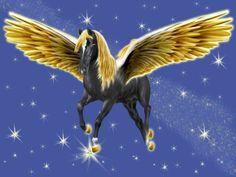 pretty pictures of peaguses   ... Golden-Winged Black Pegasus By Artsie ...   All the pretty li