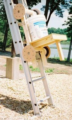 Make a cart that can be used to haul tools and materials up an extension ladder to a roof, loft, balcony, or upper window of a building or to the deck of a keeled... #deckbuildingtools