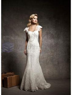 Chiffon Mermaid Cap Sleeves Sweetheart Neckline Wedding Dress