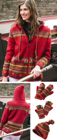 Kangtega Hand Knit, Traditional Fair Isle patterning feature strongly in this hand knitted fine wool jacket and accessories. Fairly traded by Namaste hand made in Nepal Fair Isle Knitting, Hand Knitting, Fair Trade, Namaste, Knitwear, Men Sweater, Turtle Neck, Traditional, Wool