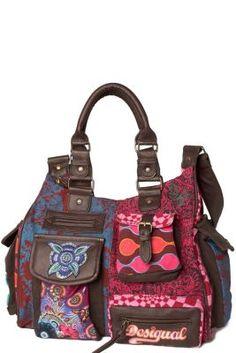 London Martina Desigual woman's bag. Bag with pink lurex highlights. Ibiza pattern, success guaranteed.