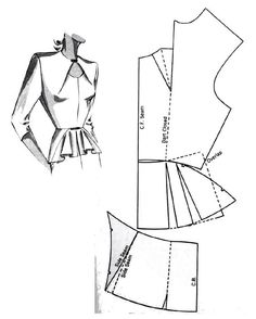 No photo description available. Coat Patterns, Dress Sewing Patterns, Blouse Patterns, Clothing Patterns, Collar Pattern, Jacket Pattern, Top Pattern, Blazer Pattern, Costura Fashion