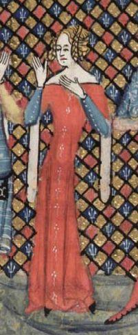 Roman de la rose Femme avec cotte bleue à boutons et cotte-hardie rouge brodée (?)