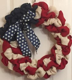 Patriotic Burlap Red, White and Blue Wreath by RTFCreations on Etsy