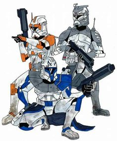 Commander Cody (Orange) Captain Rex (Blue) Commander Wolffe (Gray/Grey)