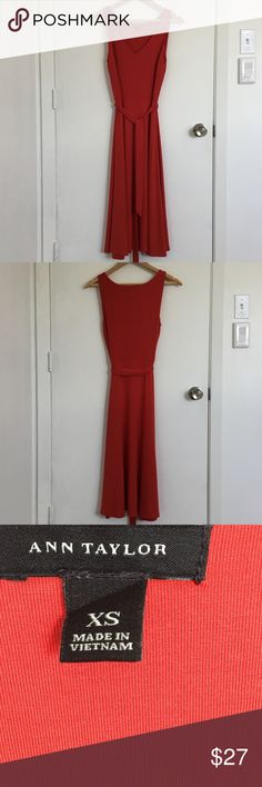 """Ann Taylor Tomato Jersey Midi Dress Midi length, hits below knee, 42"""" back center collar to hem. Modest front slit, medium weight, stretch fabric w/ lined top. Fits size 4. Worn once, perfect condition. Comes from a clean, smoke-free, pet-free home. Sorry no modeling or trades, already lowest price. 20% off bundle of 2. Ann Taylor Dresses Midi"""