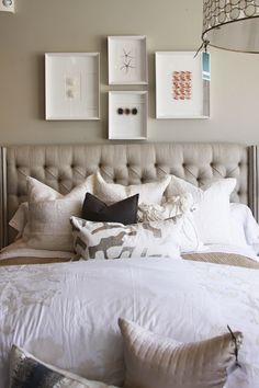 tufted linen headboard