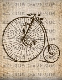 Antique SEPIA Steampunk Bicycle Vintage 2 Illustration Digital Download for Papercrafts, Transfer, Pillows, etc Burlap No 1229. $1.00, via Etsy.