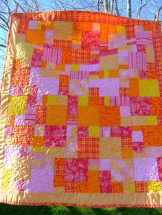 pink yellow orange baby girl quilt by atypicalife on Etsy