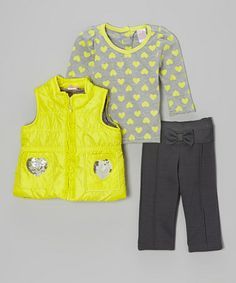 Take a look at this Yellow Heart Puffer Vest Set - Infant by Nannette on #zulily today!
