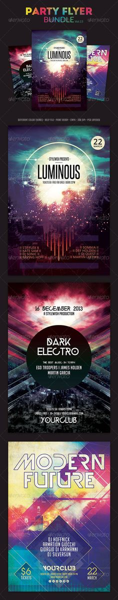 "Party Flyer Bundle Vol.16 #GraphicRiver Party Flyer Bundle Vol.16 The PSD files are very well organized in folders and layers. You can modify everything very easy and quick. Changing the color style, pictures and the typo is no problem. The main folders that will require most customization are highlighted in different colors. PRINT READY : 1275px x 1875px (4×6"" with .25"" bleeds), CMYK , 300DPI, .PSD layered Flyers contained: Luminous Flyer Dark Electro Flyer Modern Future Flyer Don't forget…"
