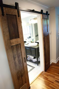 smaller barn doors on bathroom entrance