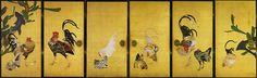 Cactus and Roosters (screen)「仙人掌群鶏図」, by Itō Jakuchū 「伊藤 若冲」