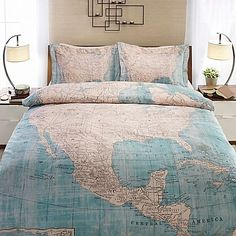 Travel to beautiful places in your dreams with the North American Map Duvet Cover. Adorned with a vintage-inspired map of North America in beige and soft blue hues, the unique bedding is perfect for any adventurer's bedroom.