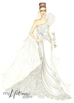 Kate Middleton wedding dress sketch by Michael Costello Wedding Dress Illustrations, Wedding Dress Sketches, Designer Wedding Dresses, Wedding Illustration, Fashion Illustrations, Wedding Gowns, Fashion Art, Runway Fashion, Fashion Ideas