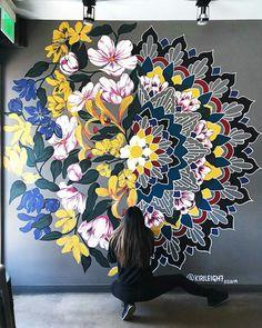 you are allowed to live your wildest dreams. 3d Wall Murals, Mural Wall Art, Graffiti Wall, Mandala Drawing, Mandala Art, Mandala Pattern, Origami Wall Art, Wall Painting Decor, Inspiration Art