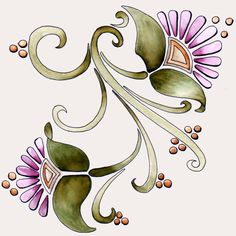 Art Nouveau Flowers 1 23Dec11 by Artwyrd.deviantart.com on @DeviantArt
