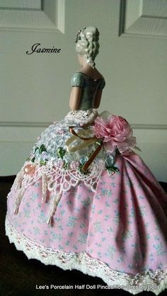 Porcelain Half Doll Pincushion Dresser by LeesVintageTreasures