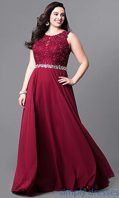 cebb85d388a Plus-Size Long Prom Dress with Jeweled Lace Bodice