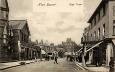 Barnet High Street. Church on the left became The Spires shopping mall . Spires retained when church demolished.