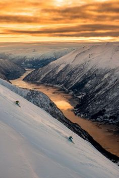Skiing at sunset in Norway