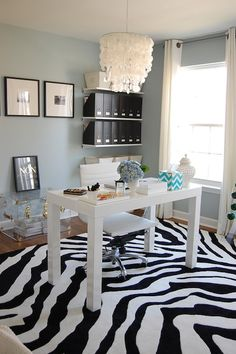 dens/libraries/offices - Benjamin Moore - Smoke - West Elm Parsons Desk Two's Company Medium Carthage Pierced Covered Lantern Haymarket Designs Chevron Tissue Box - Peacock Acrylic Trunk Non Je Ne Regrette Rien - Black - Small Print West Elm Capiz Chandelier The Container Store Open Canvas Bins The Container Store Graphite Magazine File Walmart Zebra Rug Chair blue paint alabaster vase #EasyNip