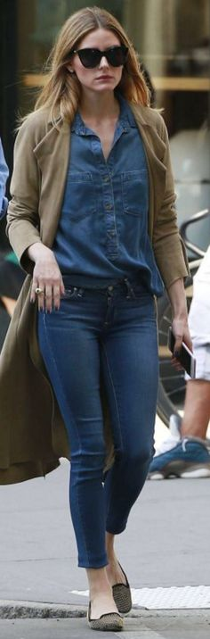 Olivia Palermo in black cat Bella Dahl sunglasses, Le Specs denim shirt, and Black Orchid skinny blue jeans - June 2016